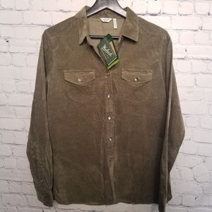 NWT Woolrich premium cord snap up shirt